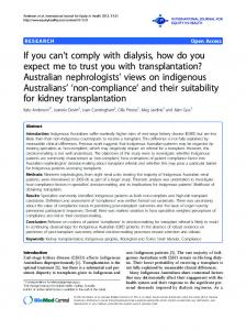 If you can't comply with dialysis, how do you expect me to trust you ...