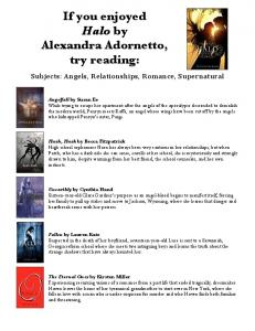 If you enjoyed Halo by Alexandra Adornetto, try reading: Subjects