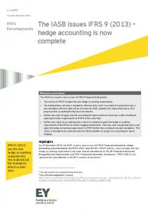IFRS Developments: The IASB issues IFRS 9 (2013 ... - Ernst & Young