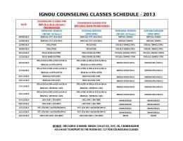 IGNOU COUNSELING CLASSES SCHEDULE - 2013