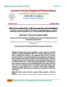 II - Journal of Chemical, Biological and Physical Sciences