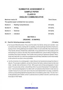 ii sample paper class ix english communicative - Kshitij School