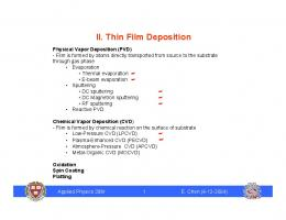 II. Thin Film Deposition
