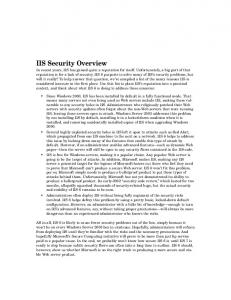 IIS Security Overview - Pearsoncmg