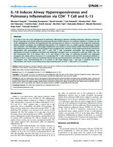 IL-18 Induces Airway Hyperresponsiveness and Pulmonary ... - PLOS