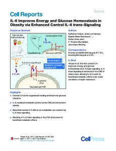 IL-6 Improves Energy and Glucose Homeostasis in Obesity via ...