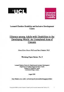Illiteracy among Adults with Disabilities in the Developing World - UCL