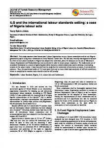 ILO and the international labour standards setting: a case of Nigeria ...