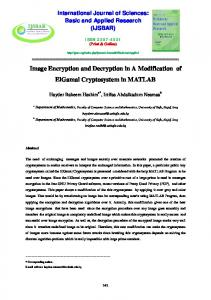 Image Encryption and Decryption in A Modification of ... - arXiv.org