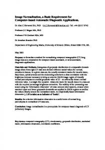Image Normalization, a Basic Requirement for ... - DePaul University