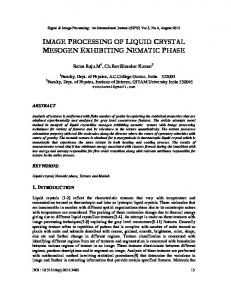 image processing of liquid crystal mesogen ... - Aircc Digital Library