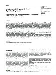 Image rejects in general direct digital radiography