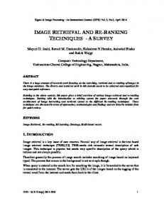 image retrieval and re-ranking techniques - a ... - Aircc Digital Library