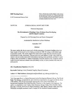 IMF Working Paper WP/97/106 INTERNATIONAL ... - SSRN papers