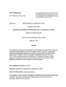 IMF Working Paper WP/97/109 INTERNATIONAL ... - SSRN papers
