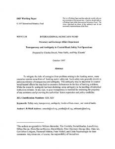 IMF Working Paper WP/97/138 INTERNATIONAL ... - SSRN papers