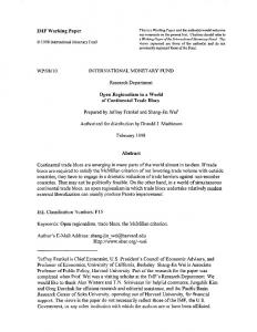 IMF Working Paper WP/98/10 INTERNATIONAL ... - SSRN papers