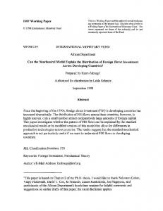 IMF Working Paper WP/98/139 INTERNATIONAL ... - SSRN papers