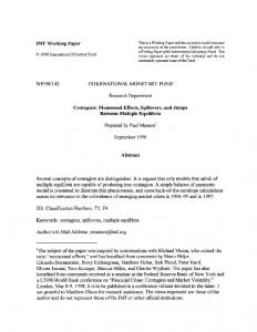 IMF Working Paper WP/98/142 INTERNATIONAL MONETARY FUND ...