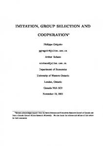 Imitation, Group Selection and Cooperation - Lakehead University