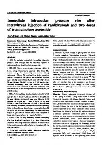 Immediate intraocular pressure rise after intravitreal injection of