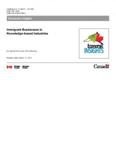 Immigrant Businesses in Knowledge-based ... - Statistics Canada