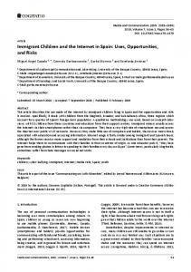 Immigrant Children and the Internet in Spain: Uses ... - Cogitatio Press