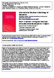 immigrant families' attitudes towards education in Spain