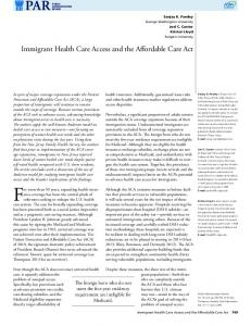 Immigrant Health Care Access and the Affordable Care Act