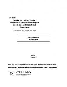 Immigrant Labour Market Performance and Skilled Immigrant ... - Cirano