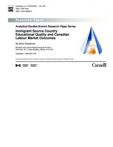 Immigrant Source Country Educational Quality and Canadian Labour ...