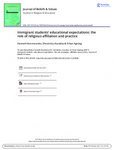 Immigrant students' educational expectations: the role