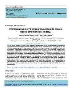 Immigrant women's entrepreneurship: Is there a ... - Academic Journals