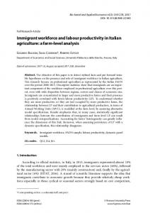 Immigrant workforce and labour productivity in Italian ...