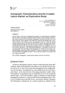 Immigrants' Characteristics and the Croatian Labour Market: an ...