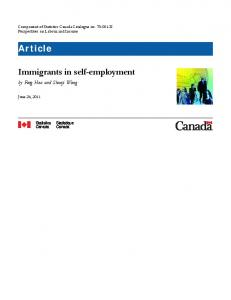 Immigrants in self-employment Article - Statistics Canada