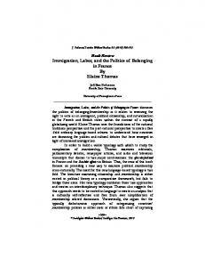 Immigration, Labor, and the Politics of Belonging in France By ...