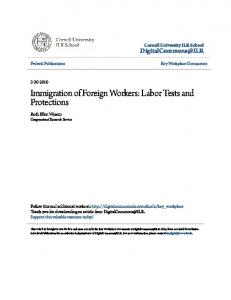 Immigration of Foreign Workers: Labor Tests ... - DigitalCommons@ILR
