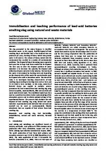 Immobilisation and leaching performance of lead-acid batteries