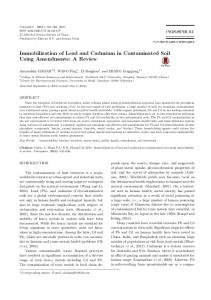 Immobilization of Lead and Cadmium in ...