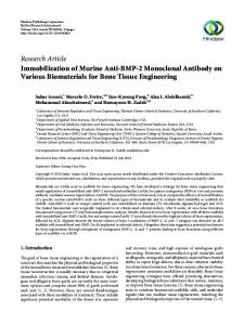 Immobilization of Murine Anti-BMP-2 Monoclonal Antibody on Various