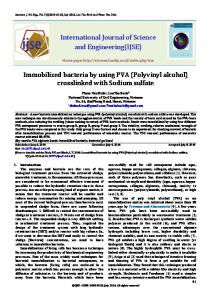 Immobilized Bacteria by Using PVA (Polyvinyl Alcohol) Crosslinked