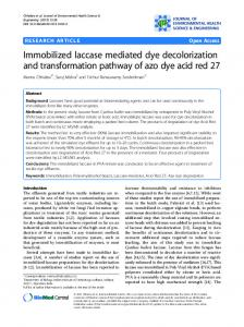 Immobilized laccase mediated dye decolorization and ... - Springer Link