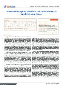 Immune Checkpoint Inhibitors in Extensive Disease Small Cell Lung ...