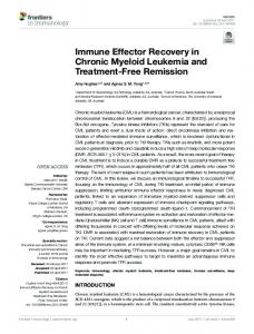 Immune Effector Recovery in Chronic Myeloid ...