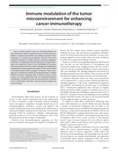 Immune modulation of the tumor microenvironment for enhancing ...