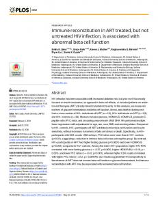 Immune reconstitution in ART treated, but not untreated HIV ... - PLOS