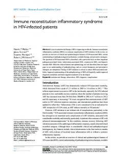 Immune reconstitution inflammatory syndrome in HIV ... - Imperial Spiral