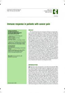 Immune response in patients with cancer pain