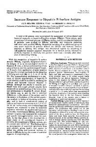 Immune Response to Hepatitis B Surface Antigen - Infection and ...